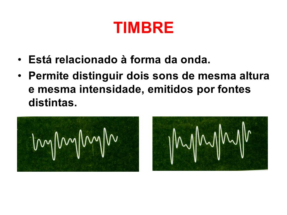 TIMBRE Está relacionado à forma da onda.