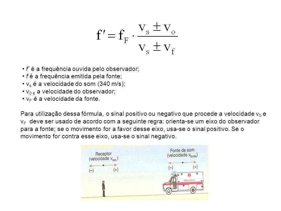 • f' é a frequência ouvida pelo observador; • f é a frequência emitida pela fonte; • vs é a velocidade do som (340 m/s); • v0 é a velocidade do observador; • vF é a velocidade da fonte.