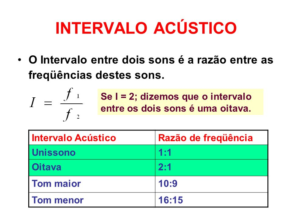 INTERVALO ACÚSTICO O Intervalo entre dois sons é a razão entre as freqüências destes sons.