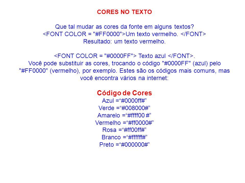 Código de Cores CORES NO TEXTO