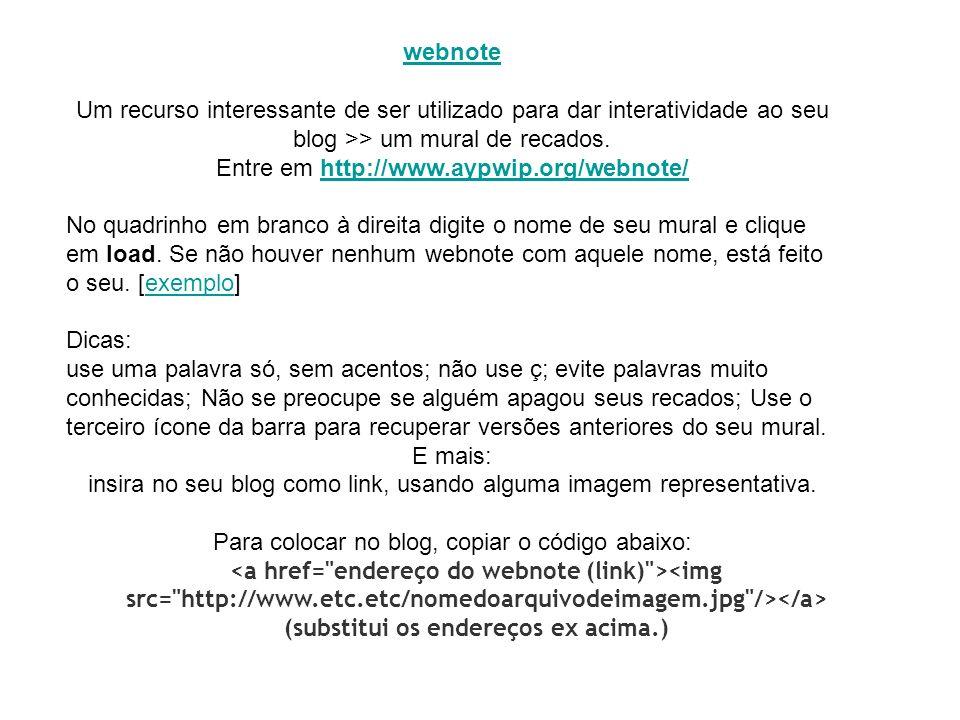 Para colocar no blog, copiar o código abaixo: