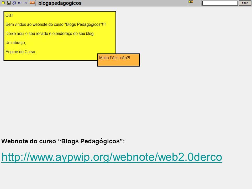 Webnote do curso Blogs Pedagógicos :