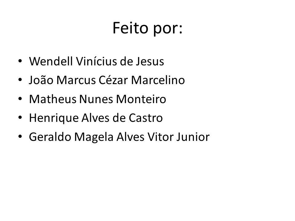 Feito por: Wendell Vinícius de Jesus João Marcus Cézar Marcelino