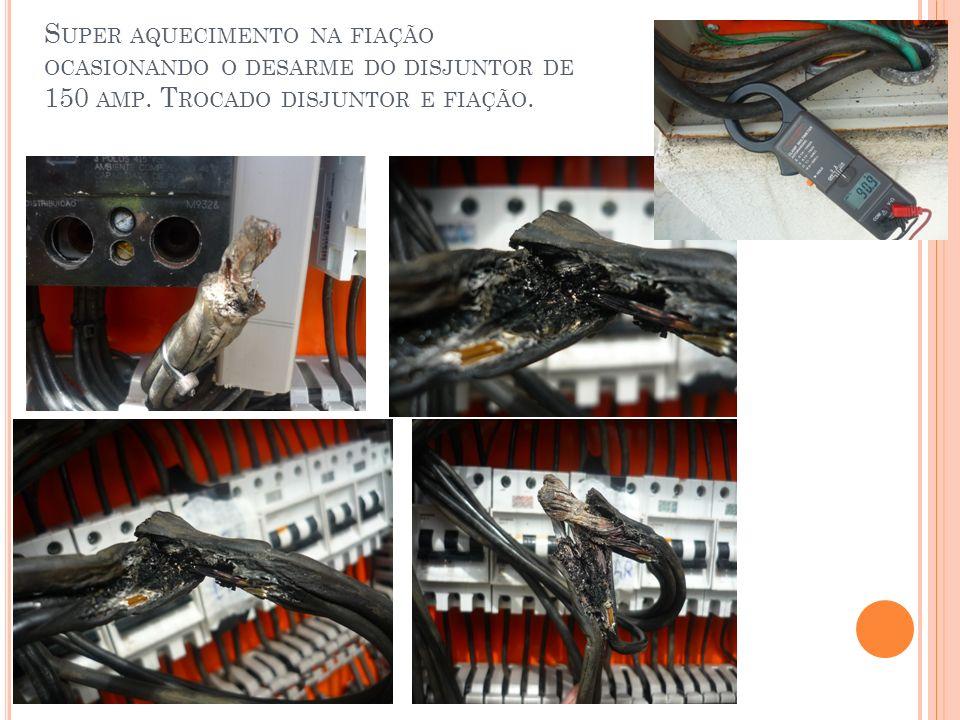 Super aquecimento na fiação ocasionando o desarme do disjuntor de 150 amp.