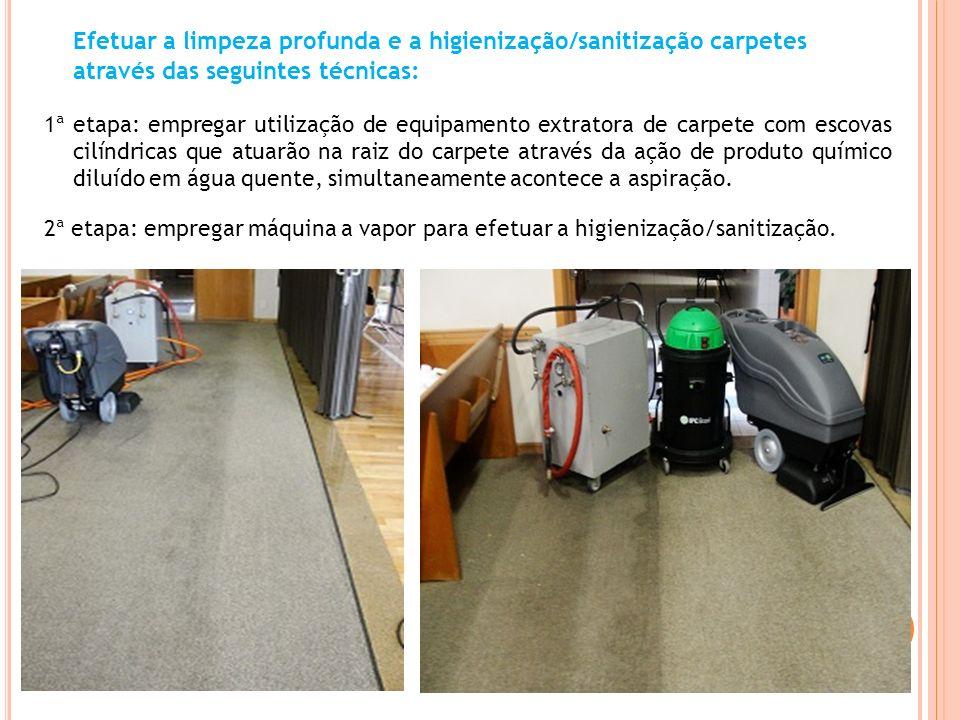 Efetuar a limpeza profunda e a higienização/sanitização carpetes através das seguintes técnicas: