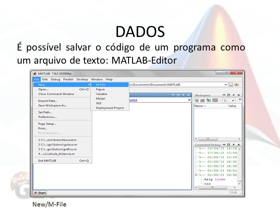 DADOS É possível salvar o código de um programa como um arquivo de texto: MATLAB-Editor New/M-File