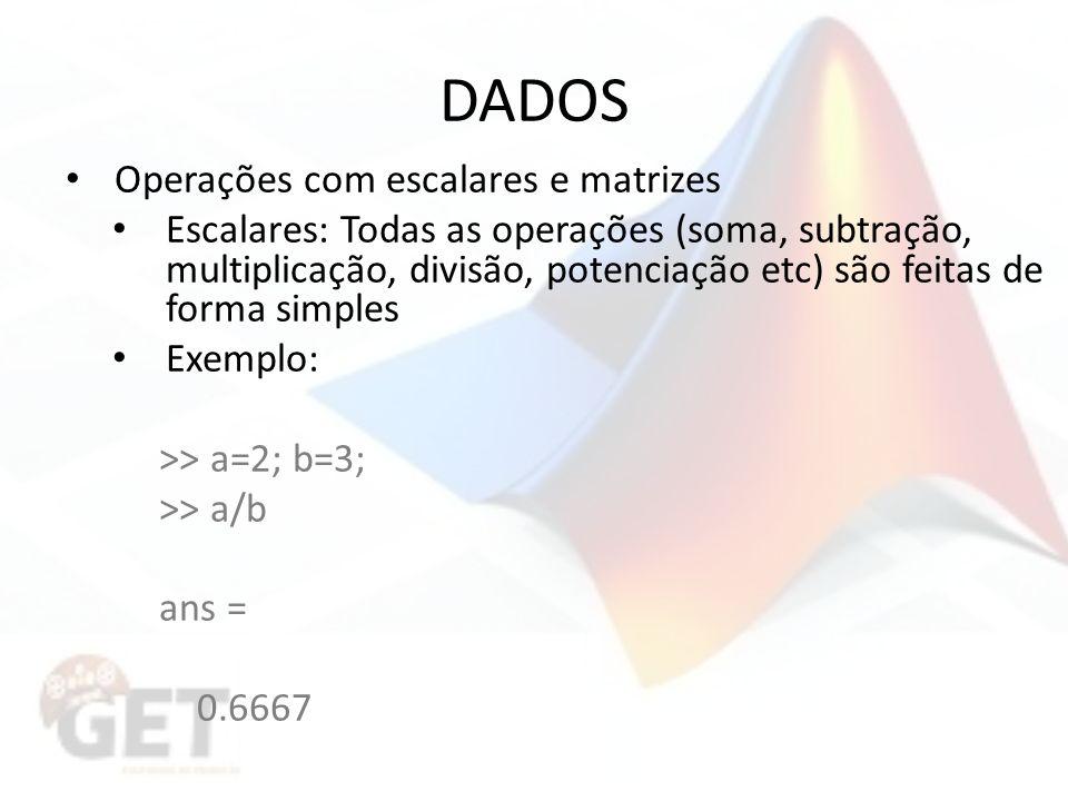 DADOS Operações com escalares e matrizes