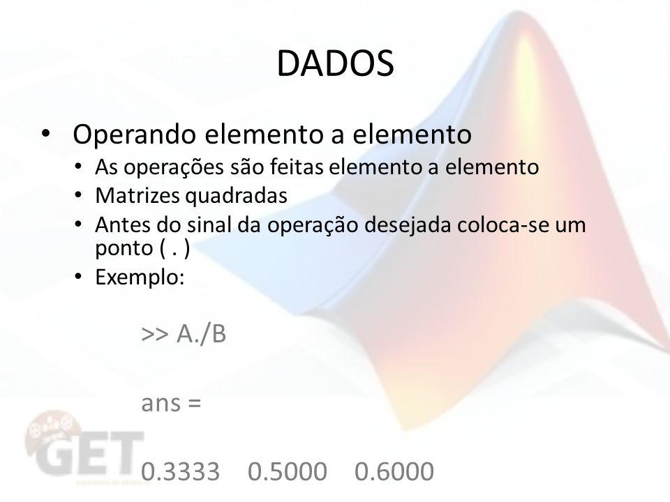 DADOS Operando elemento a elemento >> A./B ans =