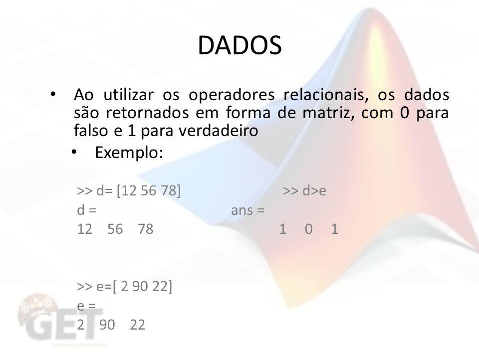 DADOS Ao utilizar os operadores relacionais, os dados são retornados em forma de matriz, com 0 para falso e 1 para verdadeiro.