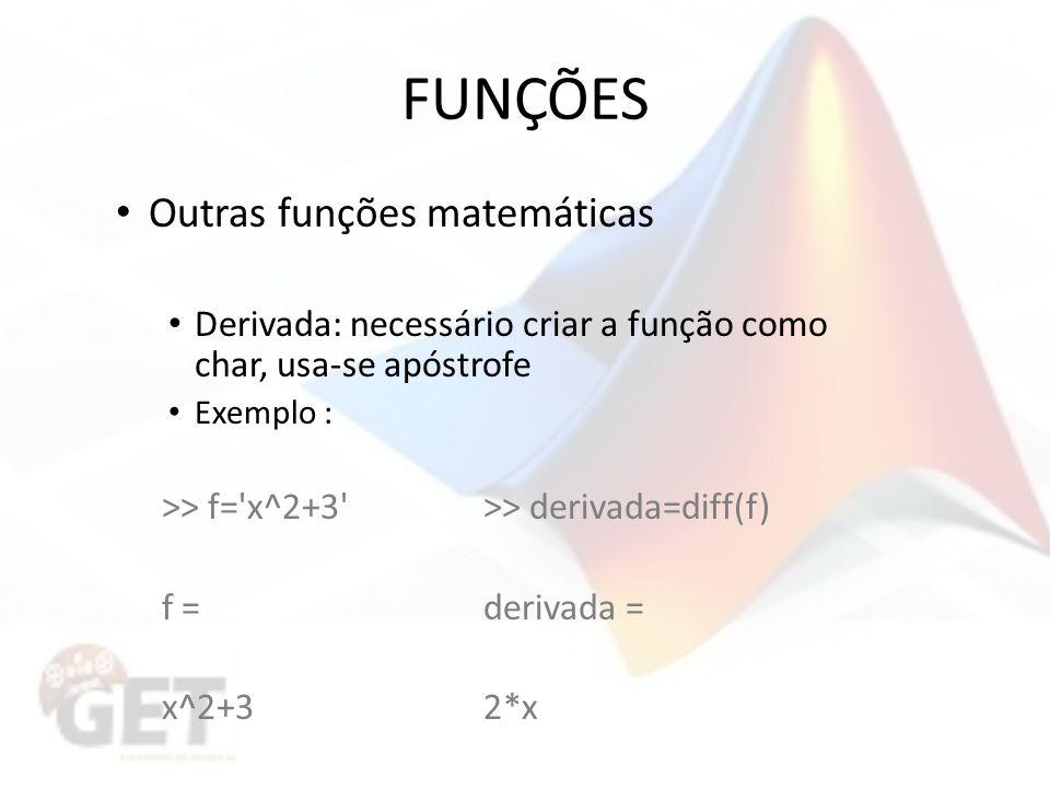FUNÇÕES Outras funções matemáticas