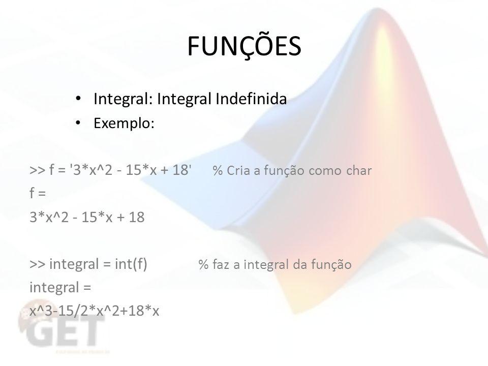 FUNÇÕES Integral: Integral Indefinida Exemplo: