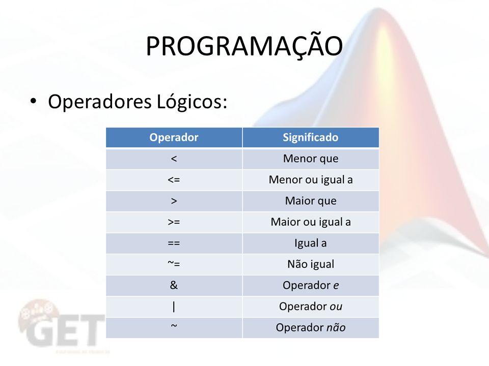 PROGRAMAÇÃO Operadores Lógicos: