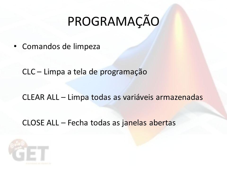 PROGRAMAÇÃO Comandos de limpeza CLC – Limpa a tela de programação