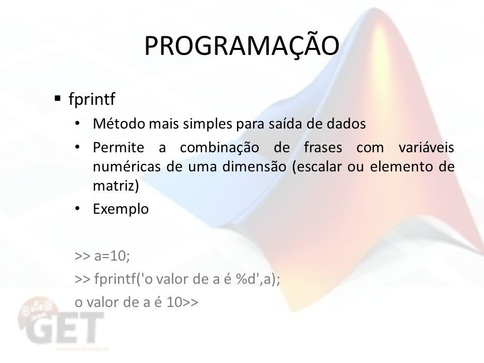 PROGRAMAÇÃO fprintf Método mais simples para saída de dados