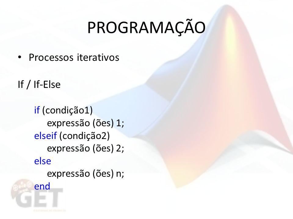 PROGRAMAÇÃO Processos iterativos If / If-Else if (condição1)