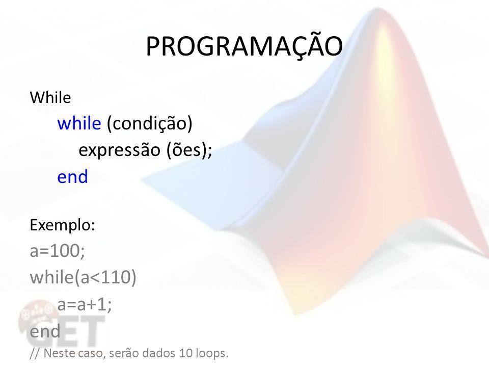 PROGRAMAÇÃO a=100; while(a<110) a=a+1; While while (condição)