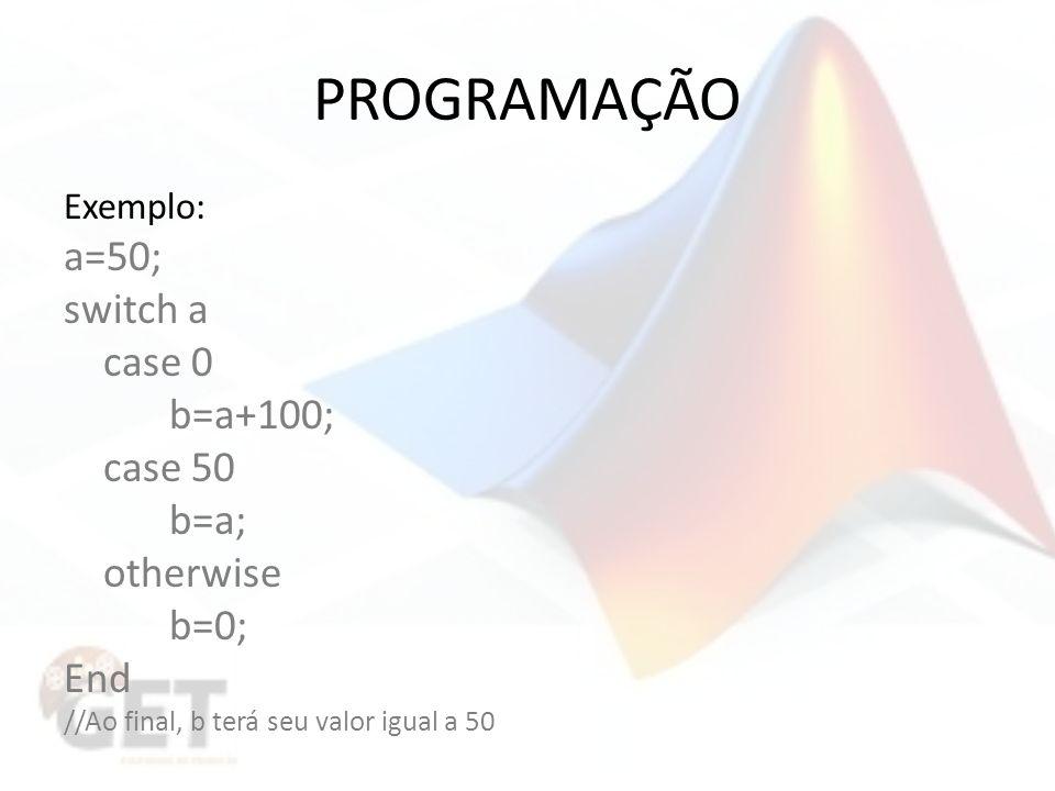 PROGRAMAÇÃO a=50; switch a case 0 b=a+100; case 50 b=a; otherwise b=0;