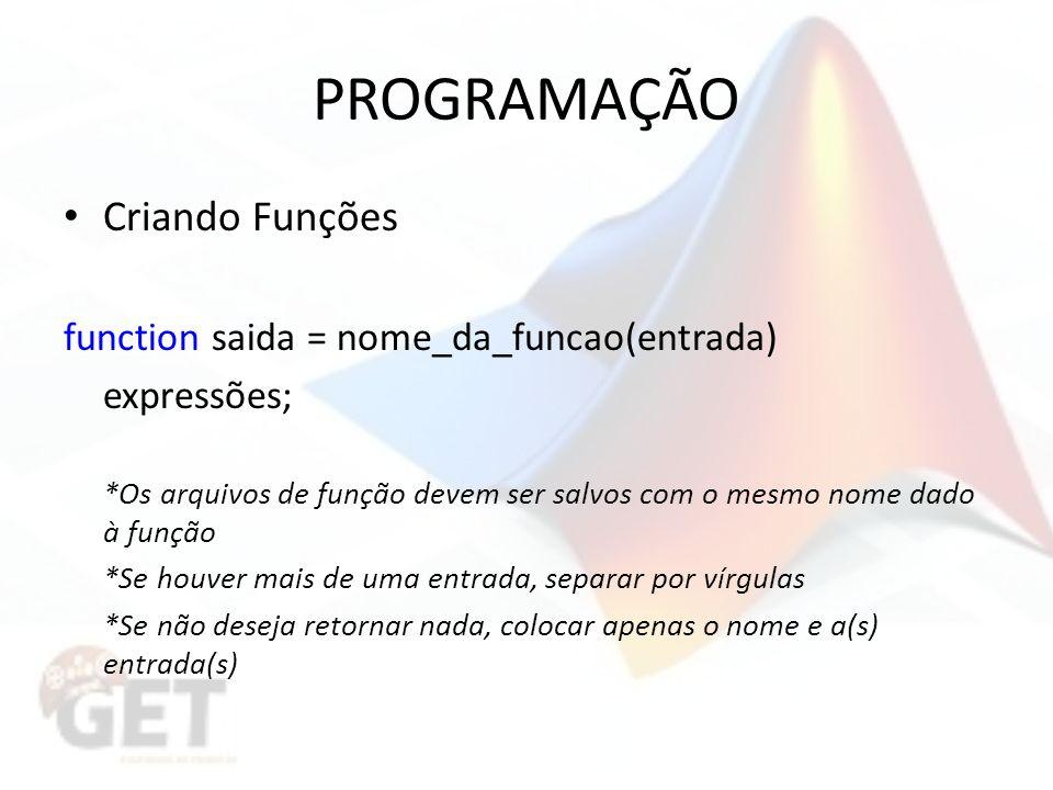 PROGRAMAÇÃO Criando Funções function saida = nome_da_funcao(entrada)