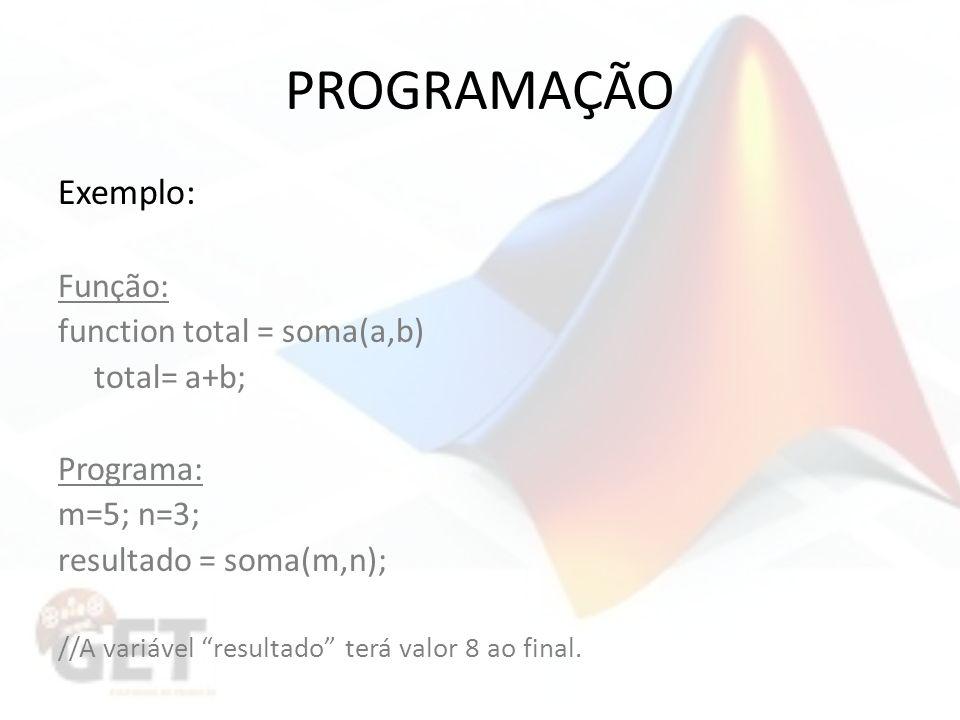 PROGRAMAÇÃO Exemplo: Função: function total = soma(a,b) total= a+b;