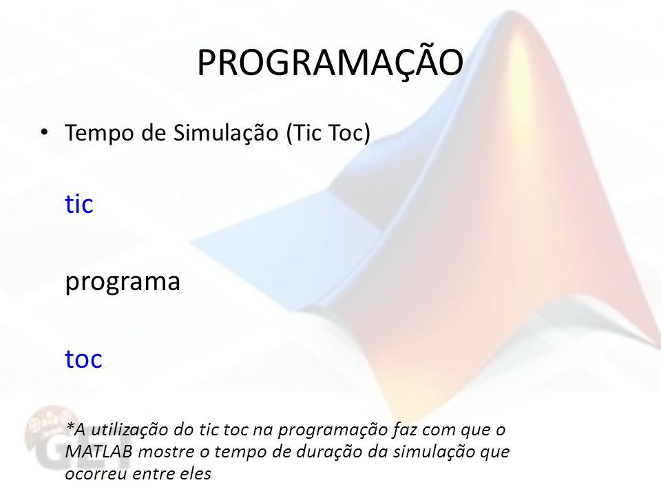 PROGRAMAÇÃO tic programa toc Tempo de Simulação (Tic Toc)