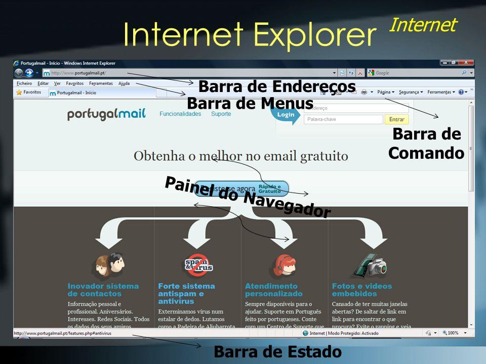 Internet Explorer Barra de Endereços Barra de Menus Barra de Comando