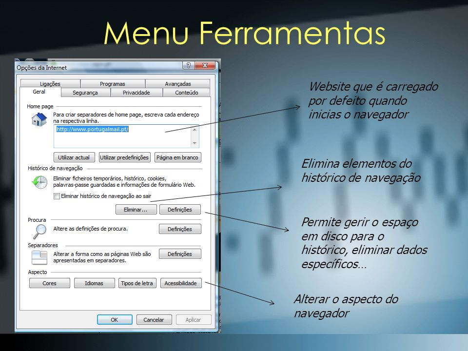Menu Ferramentas Website que é carregado por defeito quando inicias o navegador. Elimina elementos do histórico de navegação.