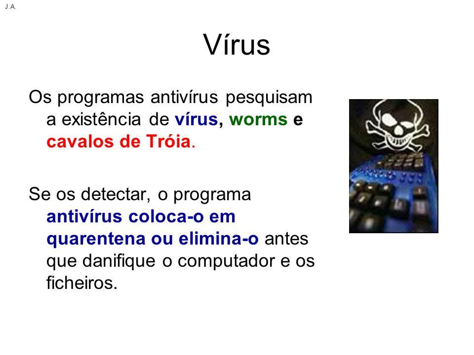 J.A. Vírus. Os programas antivírus pesquisam a existência de vírus, worms e cavalos de Tróia.