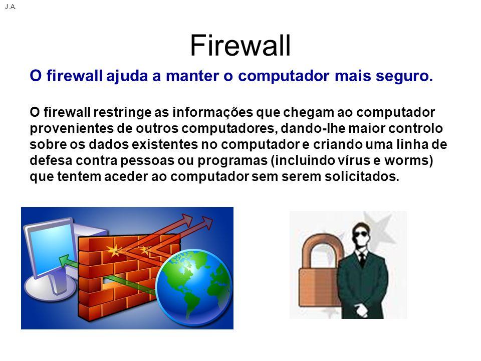 Firewall O firewall ajuda a manter o computador mais seguro.