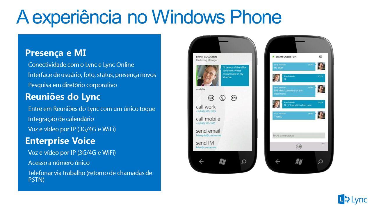 A experiência no Windows Phone