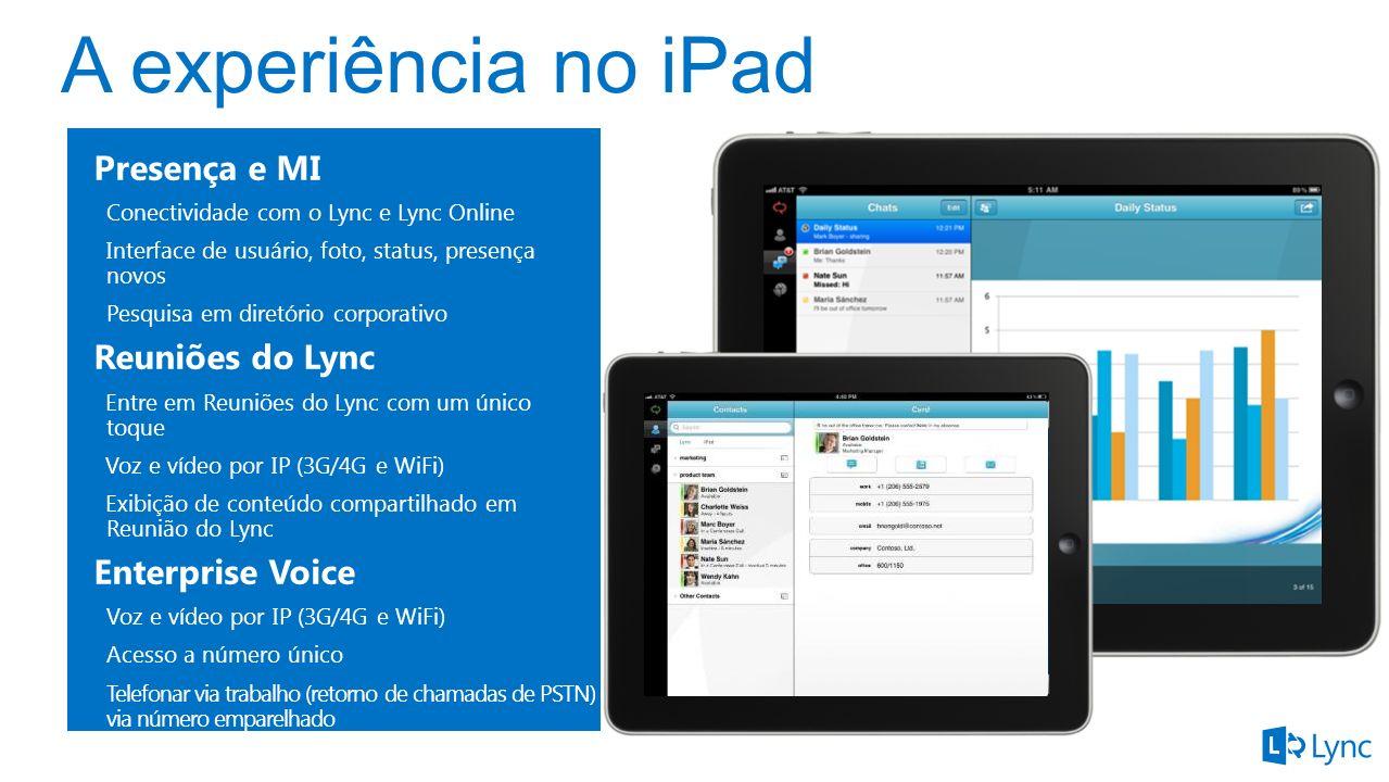 A experiência no iPad Presença e MI Reuniões do Lync Enterprise Voice