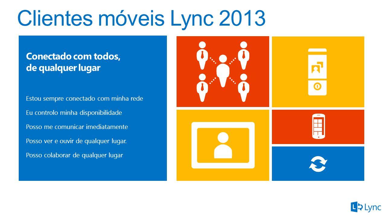 Clientes móveis Lync 2013 Conectado com todos, de qualquer lugar