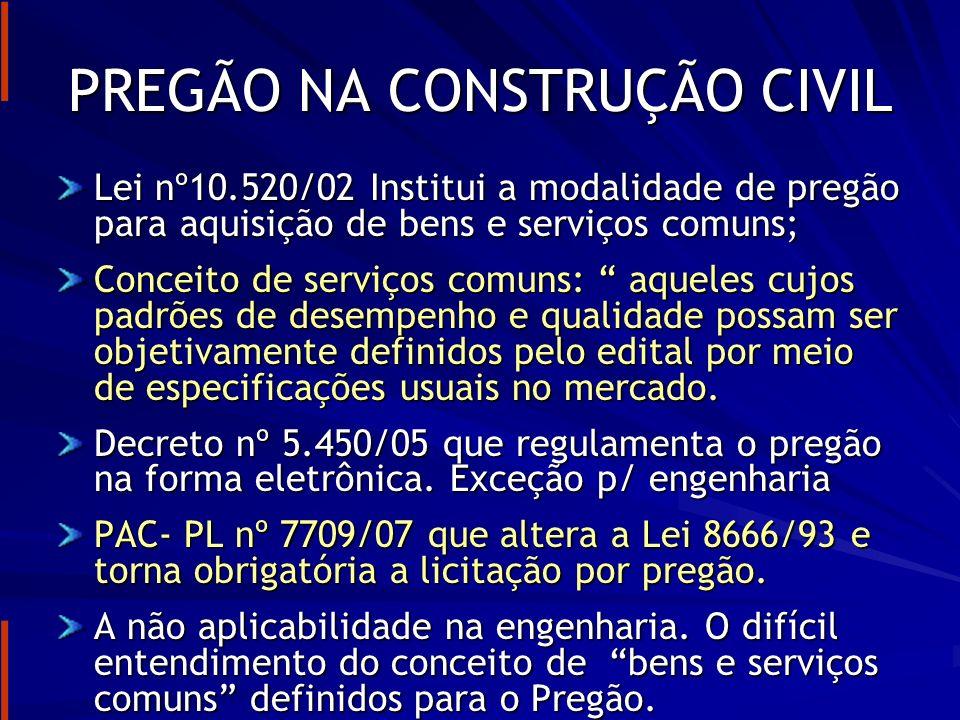 PREGÃO NA CONSTRUÇÃO CIVIL