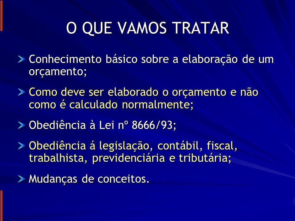 O QUE VAMOS TRATAR Conhecimento básico sobre a elaboração de um orçamento; Como deve ser elaborado o orçamento e não como é calculado normalmente;