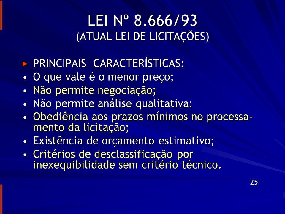 LEI Nº 8.666/93 (ATUAL LEI DE LICITAÇÕES)