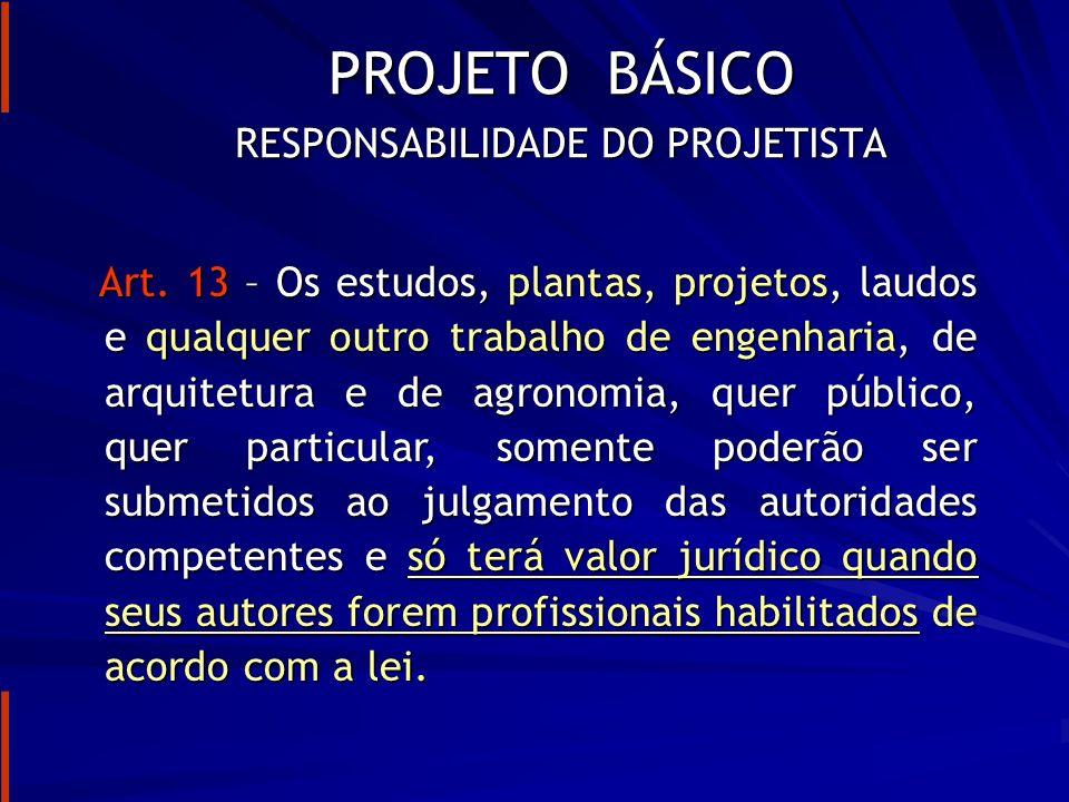 RESPONSABILIDADE DO PROJETISTA