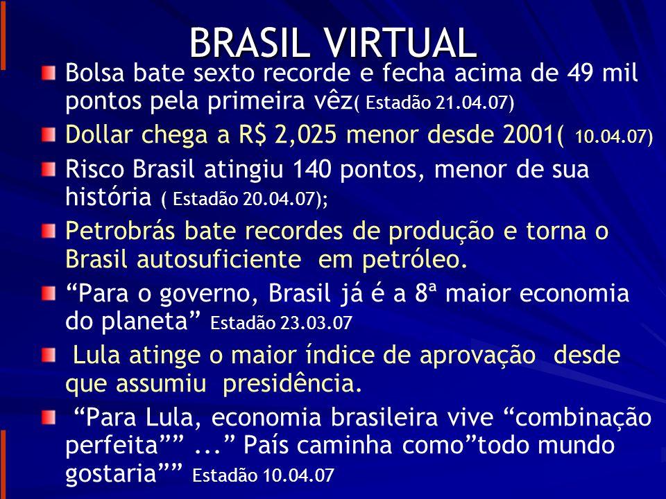 BRASIL VIRTUALBolsa bate sexto recorde e fecha acima de 49 mil pontos pela primeira vêz( Estadão 21.04.07)