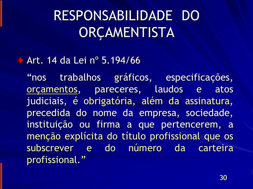 RESPONSABILIDADE DO ORÇAMENTISTA