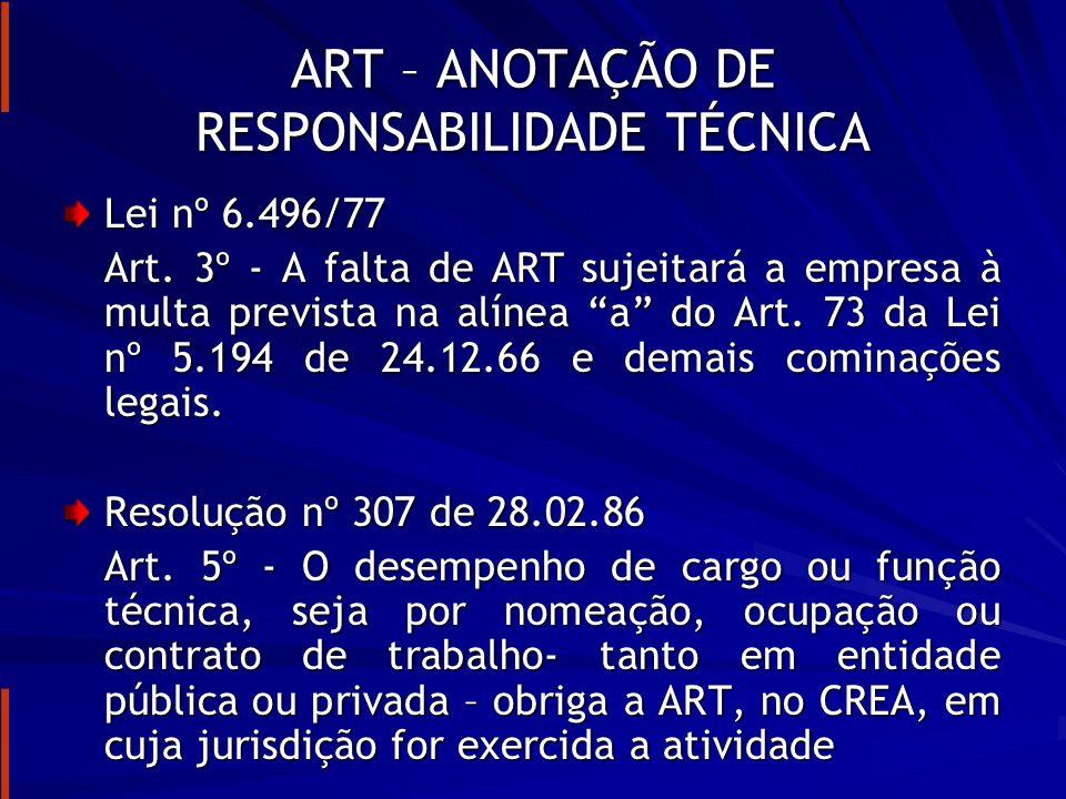 ART – ANOTAÇÃO DE RESPONSABILIDADE TÉCNICA