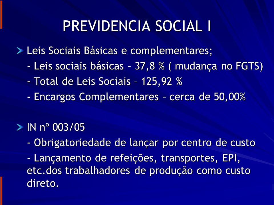 PREVIDENCIA SOCIAL I Leis Sociais Básicas e complementares;