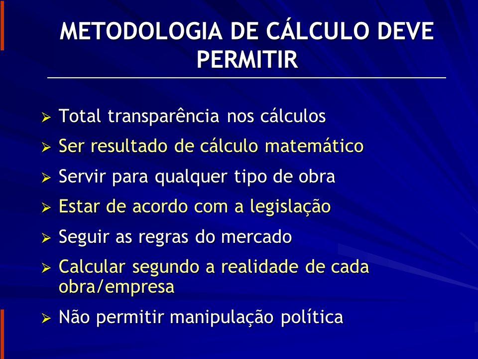 METODOLOGIA DE CÁLCULO DEVE PERMITIR