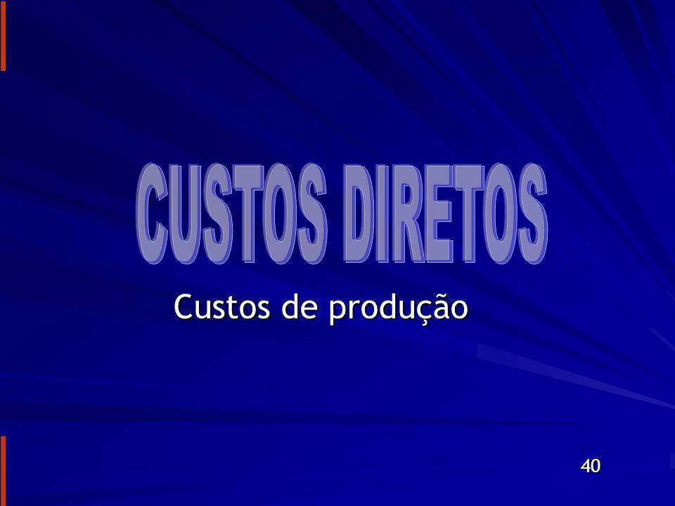 CUSTOS DIRETOS Custos de produção 40