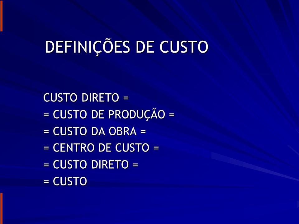 DEFINIÇÕES DE CUSTO CUSTO DIRETO = = CUSTO DE PRODUÇÃO =