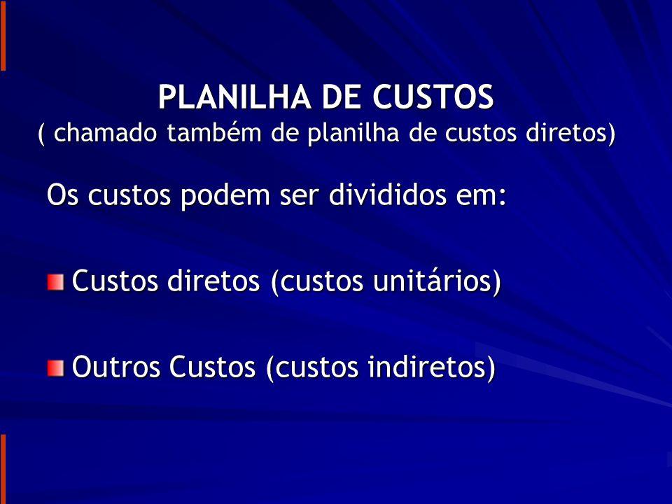 PLANILHA DE CUSTOS ( chamado também de planilha de custos diretos)