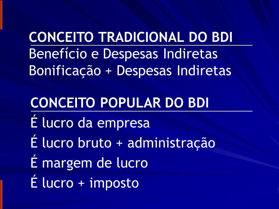 CONCEITO TRADICIONAL DO BDI Benefício e Despesas Indiretas Bonificação + Despesas Indiretas