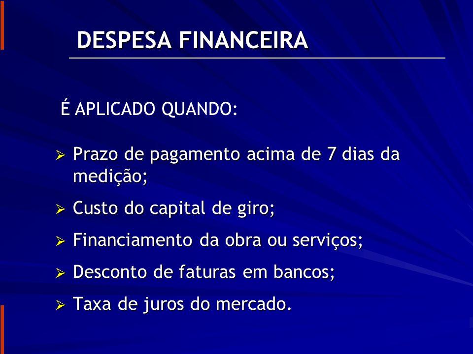 DESPESA FINANCEIRA É APLICADO QUANDO: