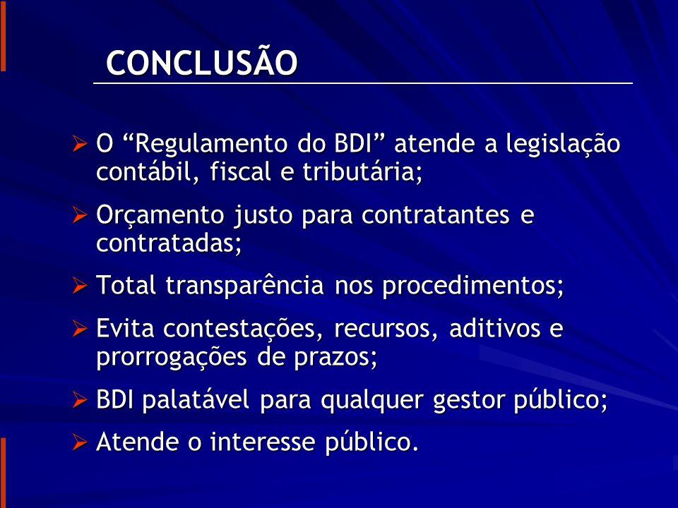 CONCLUSÃO O Regulamento do BDI atende a legislação contábil, fiscal e tributária; Orçamento justo para contratantes e contratadas;