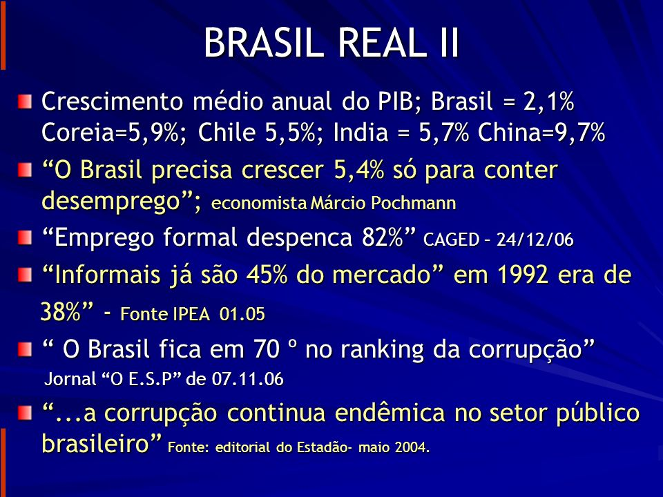 BRASIL REAL II Crescimento médio anual do PIB; Brasil = 2,1% Coreia=5,9%; Chile 5,5%; India = 5,7% China=9,7%