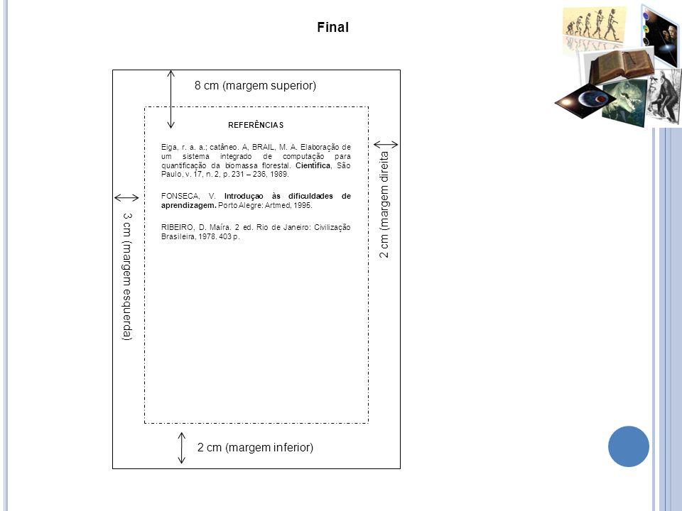 Final 8 cm (margem superior) 2 cm (margem direita