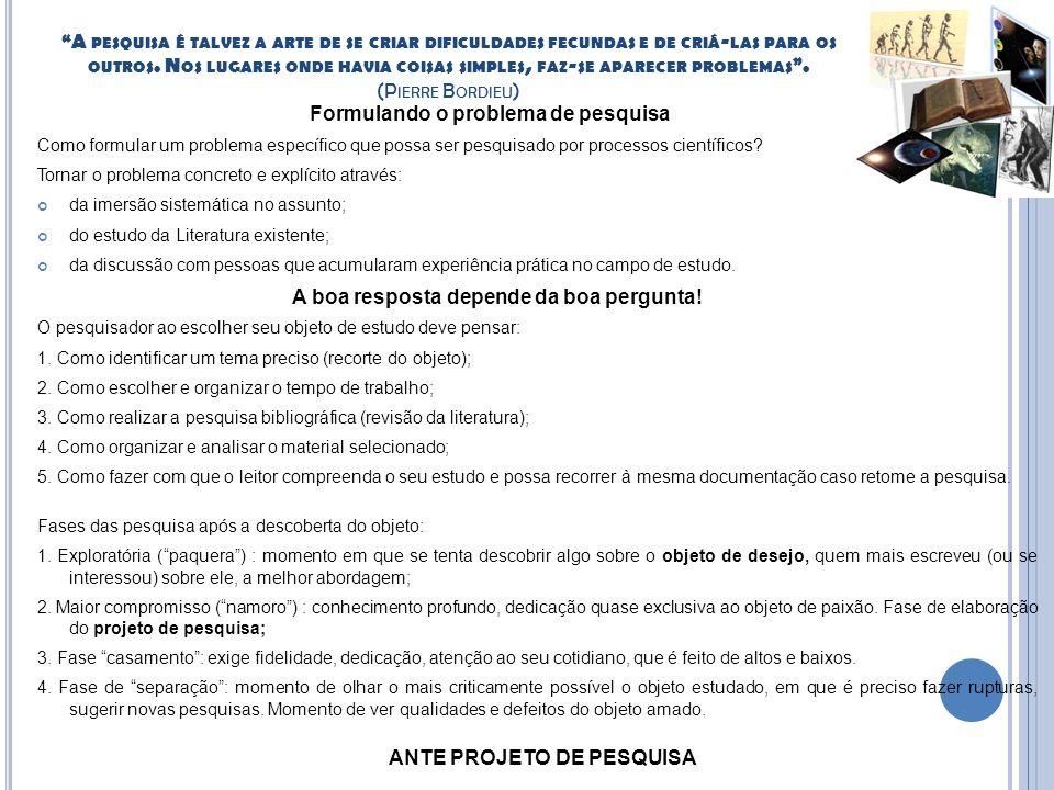 ANTE PROJETO DE PESQUISA