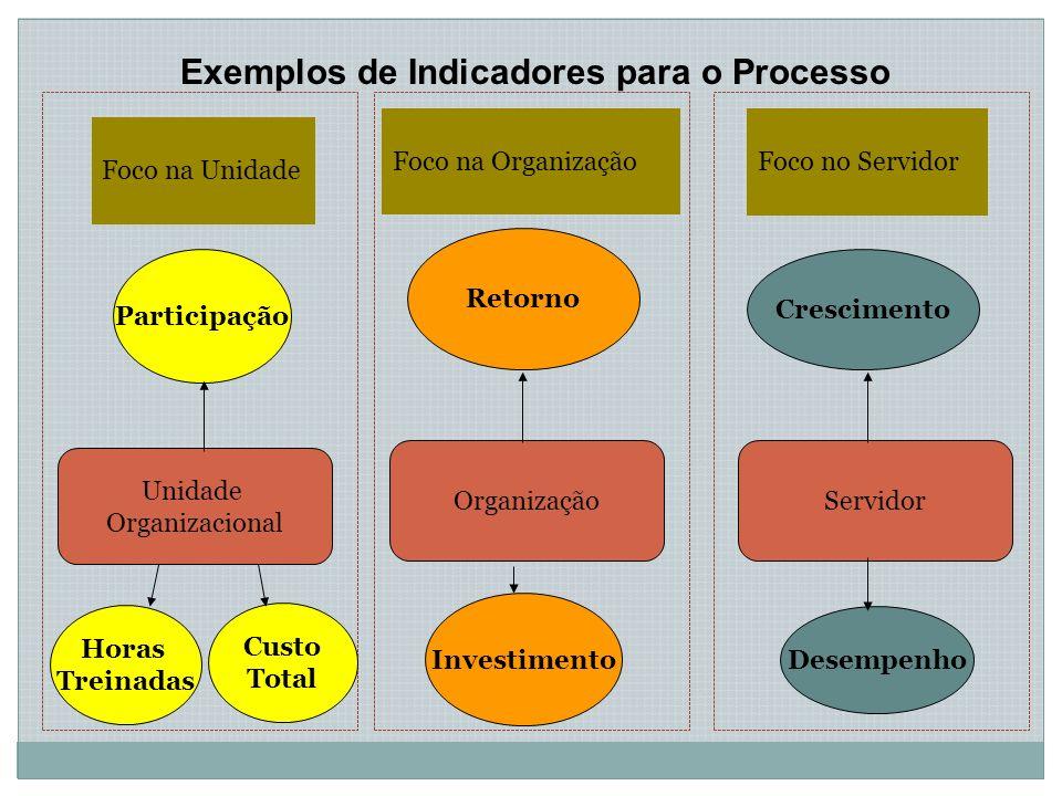 Exemplos de Indicadores para o Processo